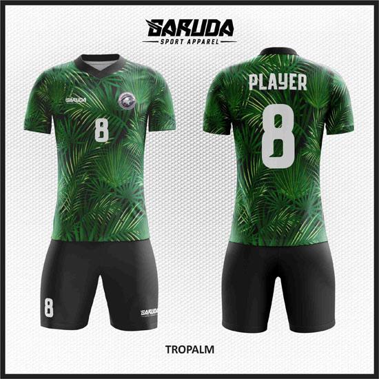 desain baju futsal hijau gambar daun