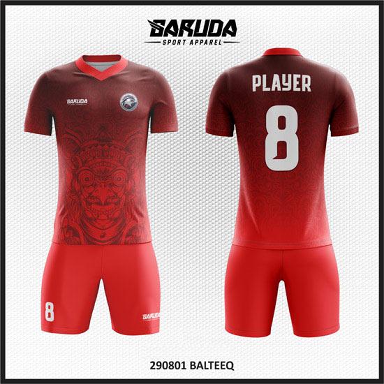 desain baju futsal merah gambar burung jalak bali