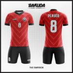 desain baju futsal merah garis garis