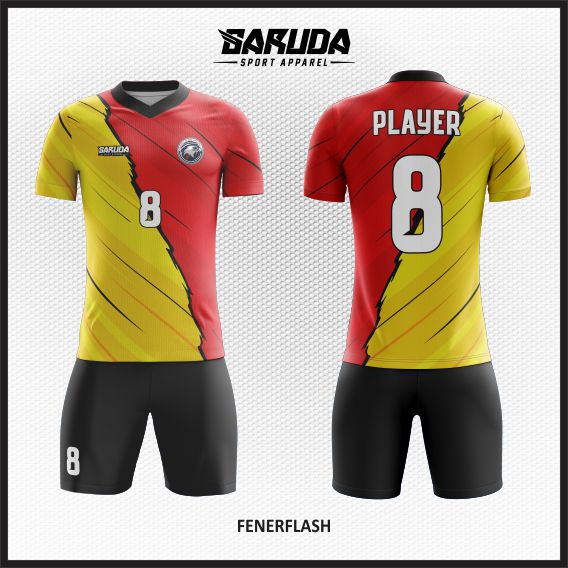 desain baju futsal merah kuning keren