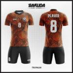 desain baju futsal orange gambar daun