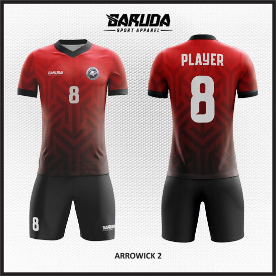 desain kaos futsal merah gradasi hitam keren