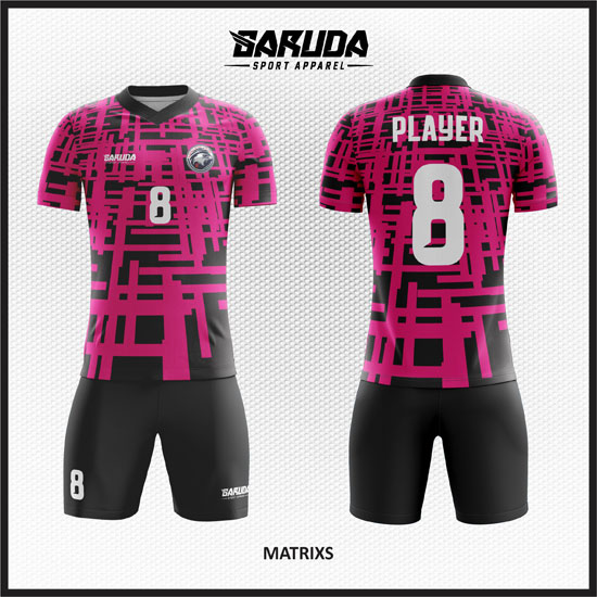 desain kaos futsal pink hitam