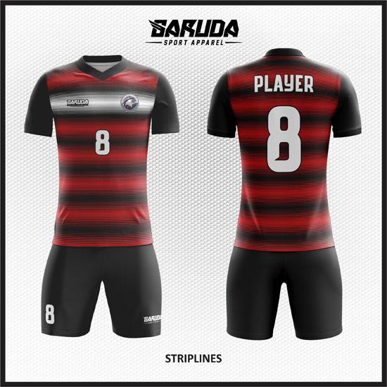 desain kostum bola futsal terbaik merah hitam
