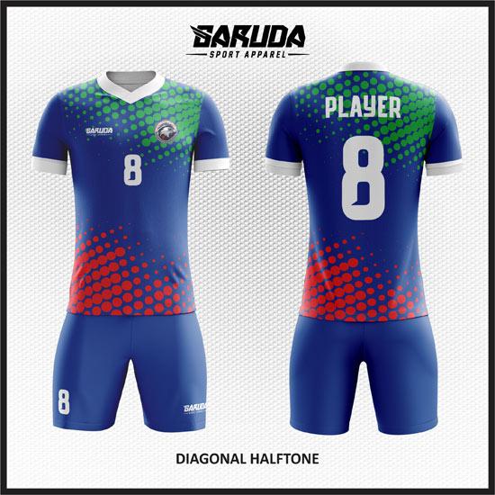 desain kostum futsal terbaik biru