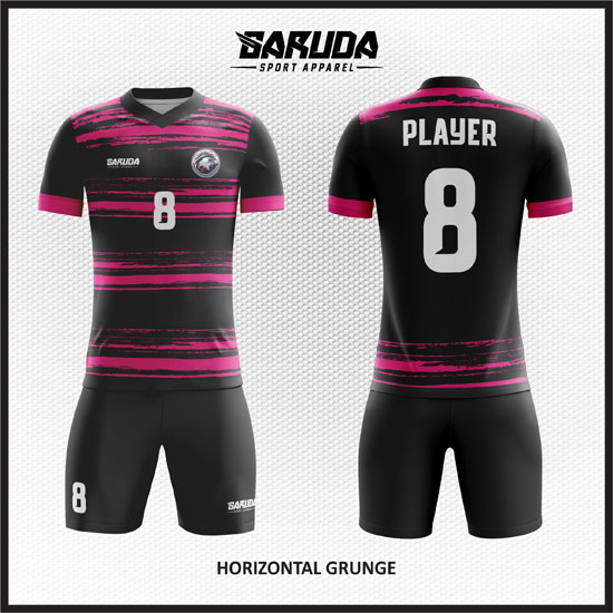 desain seragam futsal pink hitam