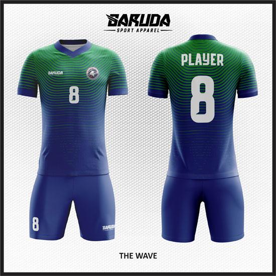 desain seragam futsal warna hijau biru