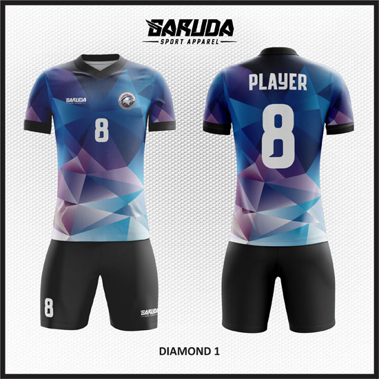 desain baju futsal anstract keren warna biru