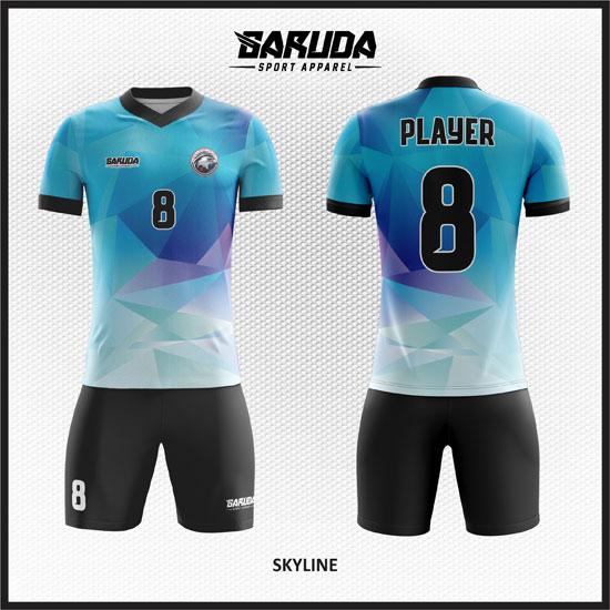 desain baju futsal biru muda abstract