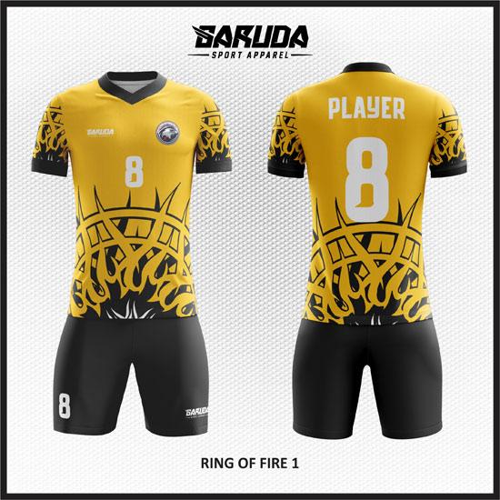desain baju futsal gambar api warna kuning