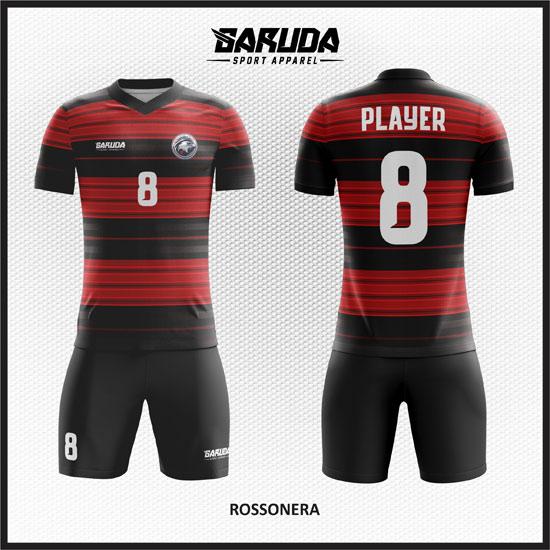 desain baju futsal merah hitam terkeren