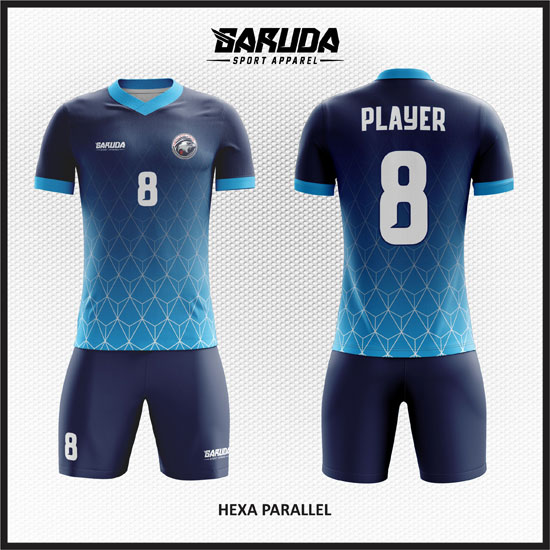 desain baju futsal warna biru gradasi keren