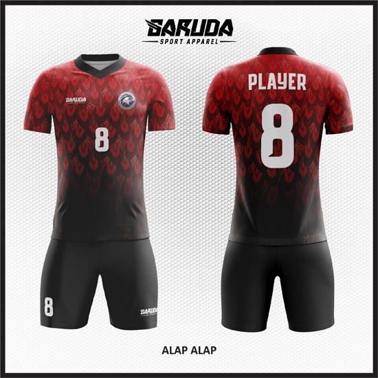desain jersey futsal keren merah gradasi