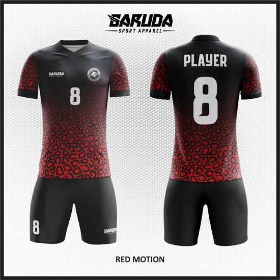 desain kostum futsal gradasi merah hitam