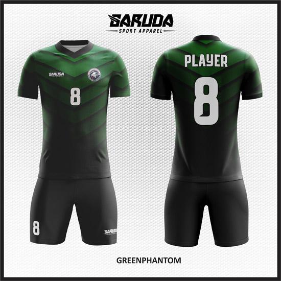 desain seragam futsal gradasi hitam dan hijau