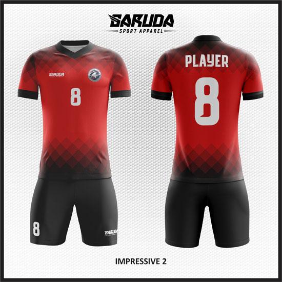 desain seragam futsal merah hitam