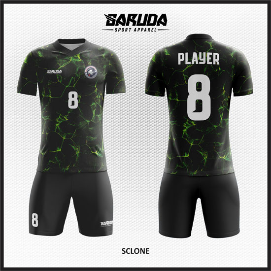 desain seragam futsal unik warna hitam